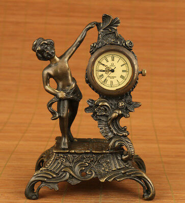 unique chinese old bronze hand carved angel statue Machinery watch ornament