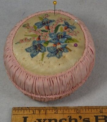 sewing pin cushion hand made petit point pink vintage antique original 1920
