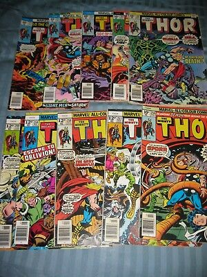 Thor 251 - 260 (10 comics). Bronze Age issues from 1976/77, condition varies