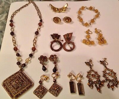 Lot Of Asst Vintage Goldtone Glass Citrine/ Topaz Necklace And Clip Earrings