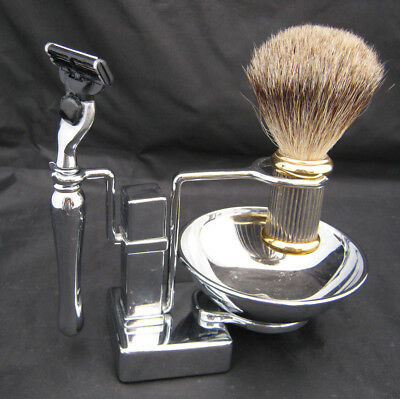 Unique Shaving Set Stand Soap Bowl Real Badger Brush Razor Silvertone AS IS