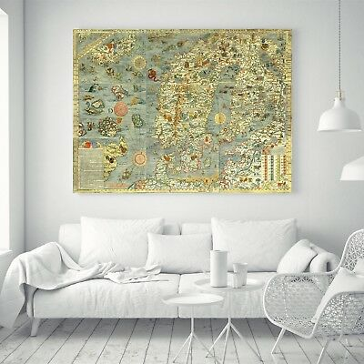 Ancient Ocean World Map Sea Monster Animal Vintage Silk Canvas Poster Paint 94