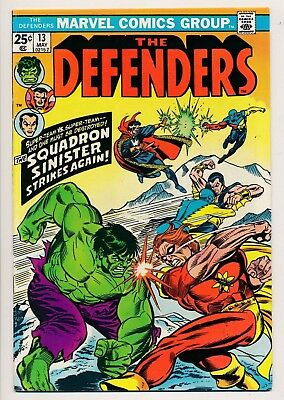 Marvel THE DEFENDERS #13 Squadron Sinister (1975) ~ FINE (PF224)
