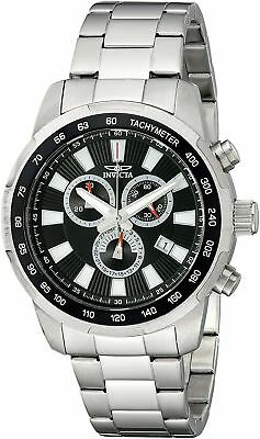 New Mens Invicta 1555 Specialty Chronograph Black Dial Stainless Steel Watch