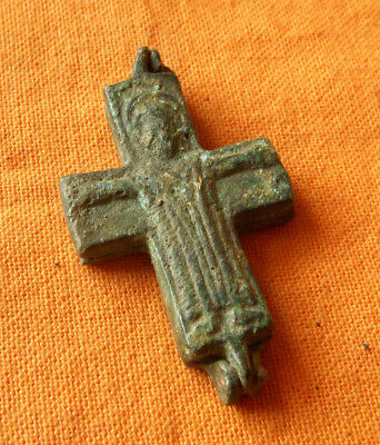 A395. Byzantine style bronze reliquary double faced cross.Encolpion