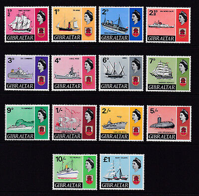 GIBRALTAR. 1967. SG 200-213, 1/2d to £1. FINE UNMOUNTED MINT.