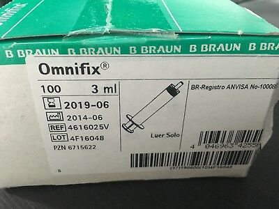 B Braun Omnifix  3ML  Syringes STERILE and LATEX  DEHP PHT PVC FREE CE MARKED