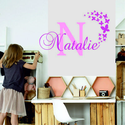 Name Initial Personalised Wall Decor GIRLS Baby Art Bedroom Wall Stickers