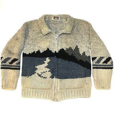 vtg LONGHOUSE cowichan SWEATER sz L 100% WOOL hand made CANADA panorama KNIT