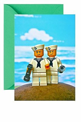 Sailors Toy Mini Figures Greetings Birthday Blank Inside Card Gay Wedding