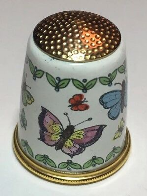 Halcyon Days Fingerhut Schmetterlinge Emaille Thimble Enamel Butterflies