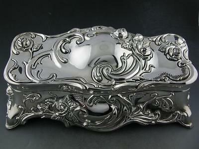 Silverplate WALLACE Jewelry & Music Box Art Nouveau style w/ floral rose pattern