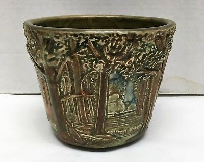 "1920'S Stamped Weller Ware American Art Pottery  forest flower pot 6.5"" wide"