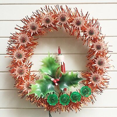 Everglow Red Tinsel Candle Light Up Christmas Wreath