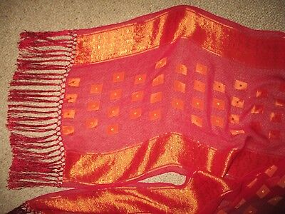 Vintage Oriental Red And Gold Fringed Silk  Long Scarf  Good Condition