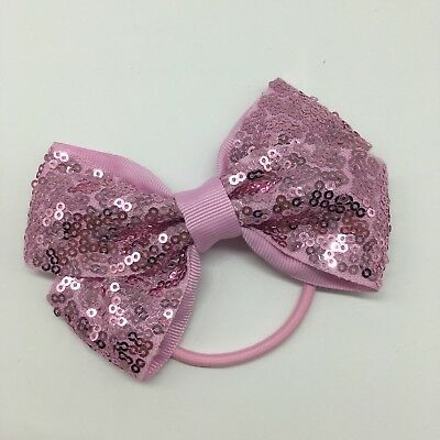 Girls Light Pink Sequin Bow Bobble 4.5 inch Bow  FREE UK P&P