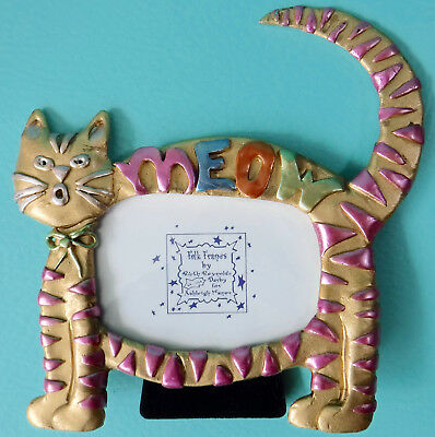 """Vtg. Handpainted Metal Cat-Shaped Meow Picture Frame for 2x3"""" Photo"""