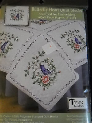 Tobin Stamped For Embroidery 6 Butterfly Heart Quilt Blocks No Instructions