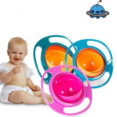 Baby Anti Spill Bowl 360 Rotate Universal Gyro Gravity Kids Feed Training Cup S9