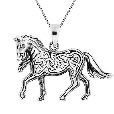 Prancing Horse with Celtic Knot Accents Sterling Silver Necklace