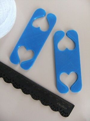 2 Inkle Heart Shaped Shuttles for Weaving with Inkle Loom *NEW* Plastic in Blue