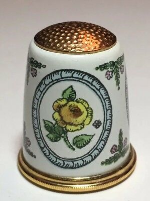 Halcyon Days Fingerhut Messing Gelbe Rose Emaille Brass Thimble Enamel Rose