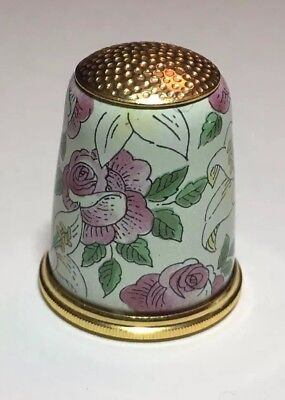 Halcyon Days Fingerhut Messing Emaille Brass Thimble Enamel Opera Flowers