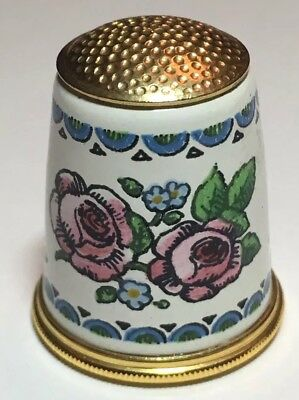 Halcyon Days Fingerhut Messing Rose Emaille Brass Thimble Enamel Rose