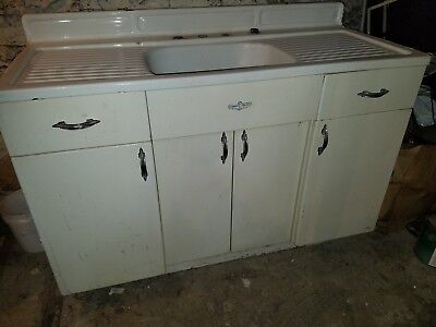 Vintage Kitchen Sink Porcelain Over Tin & Metal Base Cabinet Youngstown Kitchens