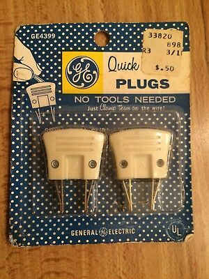 Vintage GE 4399 Quick Clamp Plugs Ivory Pack of 2 Made in USA