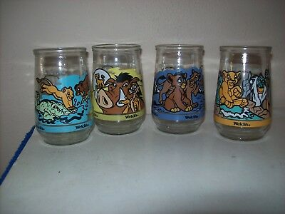 Set Of 4 Welch's Jelly Glasses Lion King Simba's Pride #2, 3, 4 & 5