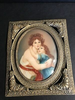 An Antique Hand Painted Miniature Portrait Of A Woman And Child Circa 1940
