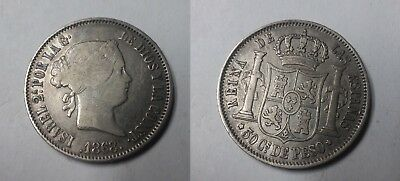 1868 Philippines Isabel Large Silver 50 centimos