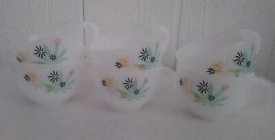 Vintage Federal Milk Glass Snack Tea Cups Blue Peach Yellow Floral Set Lot Of 6
