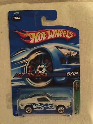 Hot Wheels 2006Treasure Hunt 1967 Ford Mustang white, blue flames.