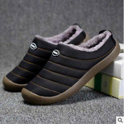 f60e4109146 Winter Warm Home Mens Fur Warm Lined Slippers Rubber Sole Non Slip indoor  Shoes