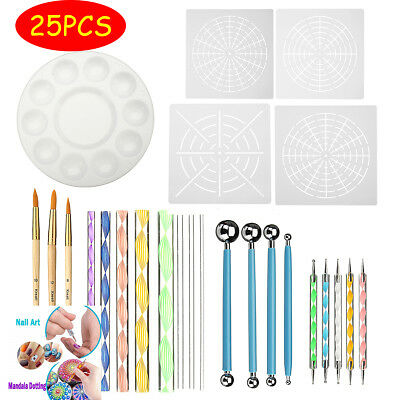 25Piece Mandala Dotting Tools Rock Painting Kits Dot nail Art Pen Paint Stencil