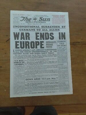 THE SUN NEWS PICTORIAL Tue May 8, 1945  WAR ENDS IN EUROPE