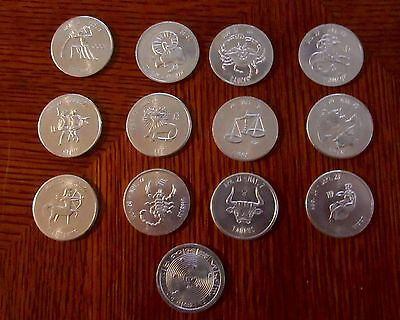 Complete set of 12 Aluminum Zodiac Astrology Tokens, Coins  1.25 in Round
