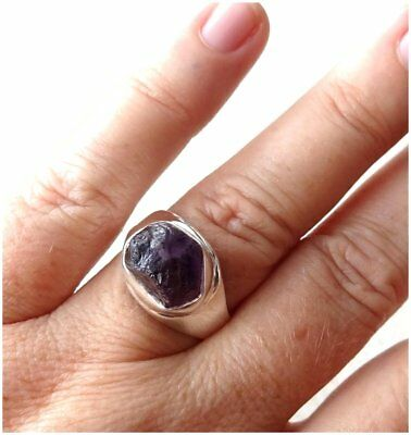 925 Sterling Silver PURPLE AMETHYST Semi Precious GEMSTONE RING SIZE R 1/2  US 9