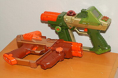 Lot of 2 LAZER TAG Team OPS Blaster Tiger Green orange NERF Tested and working