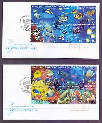 Christmas Island  2004  FDC, Underwater mini sheet on 2 covers.