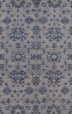Transitional Floral Light Blue Moroccan Hand Knotted Oriental Area Rug Wool 5x8