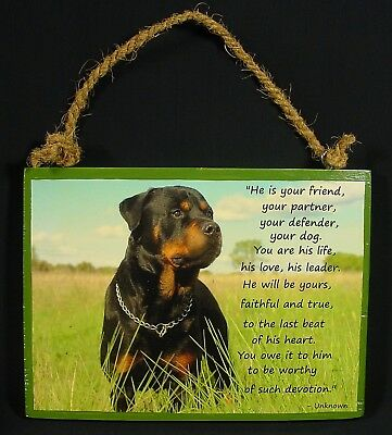 Rottweiler Plaque Wall Hanging Wood Beautiful Words to Live By And Remember