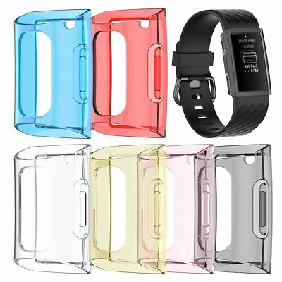 For Fitbit Charge 3 Silicone TPU Clear Case Screen Protector Frame Cover