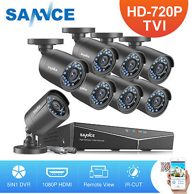 SANNCE 8CH 1080N 5IN1 DVR 2000TVL IR CUT Night CCTV Security Camera System H.264