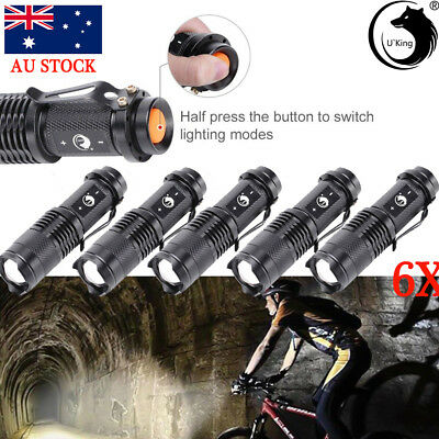 6x LED Zoomable Focus Bright Flashlight Military Torch 1200LM Light AA/14500