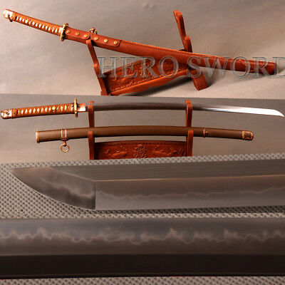 Top quality Japanese Officer Saber Clay Tempered Folded Steel Real Combat Katana