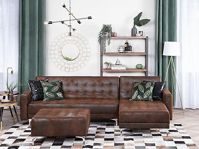 Modern Left Hand Air Leather Corner Sofa Bed Brown Reclining Tufted Aberdeen