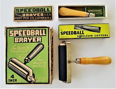 LOT vintage SPEEDBALL BRAYER and LINOLEUM CUTTERHunt Pen camden nj craft